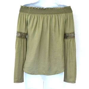 WHBM Olive Off -the-Shoulder Bell Sleeve Boho Top